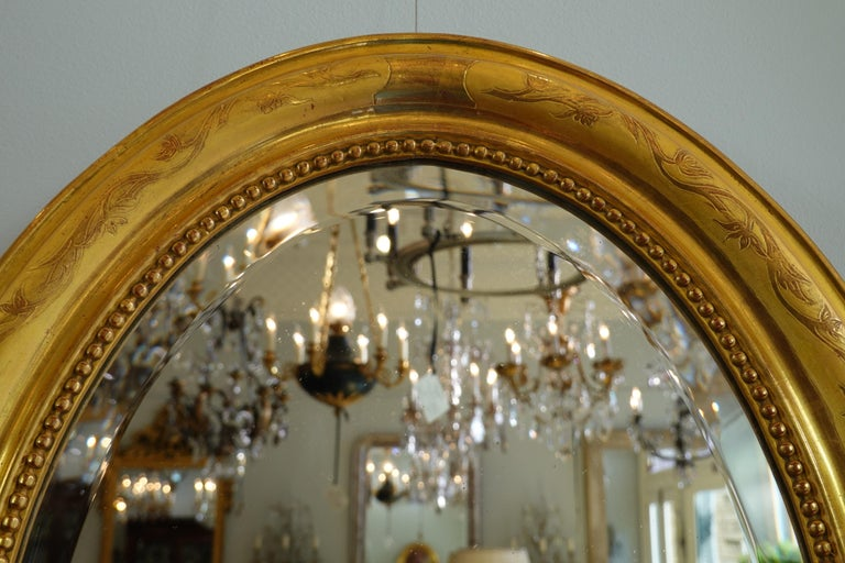 French Charles X Oval Mirror with Beveled Glass In Good Condition For Sale In Charleston, SC