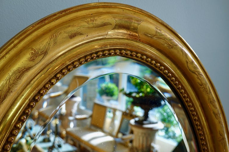 French Charles X Oval Mirror with Beveled Glass For Sale 1