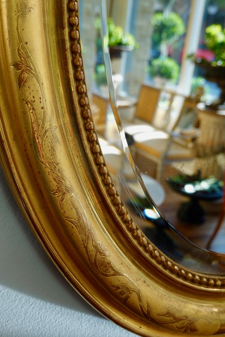 French Charles X Oval Mirror with Beveled Glass For Sale 3
