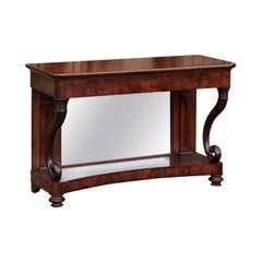 French Charles X Period 1830s Mahogany Console Table with Cornucopia Legs