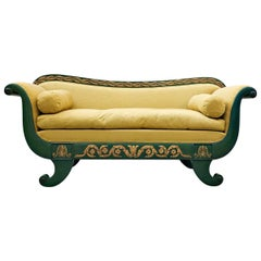 French Charles X Sofa, Green and Gold Lacquered Wood
