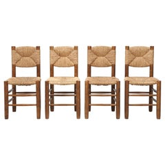 French Charlotte Perriand Bauche Chairs, Set of 4, Unrestored, circa 1950