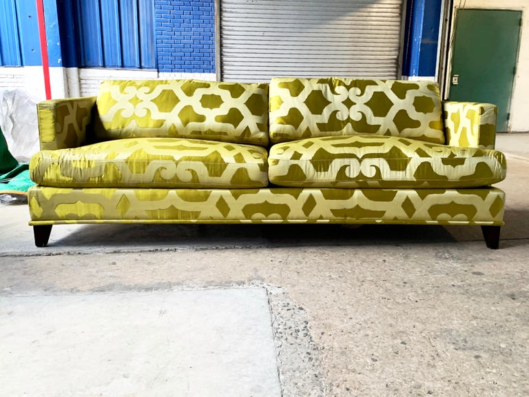 French Chartreuse Silk Quatrefoil 3-Seat Sofa Kravet Couture, Yellow Green Couch.  An Art Deco inspired sofa in a Dual-toned quatrefoil lush chartreuse French silk. Truly stunning. Photos cannot capture the way this piece interacts with the light.