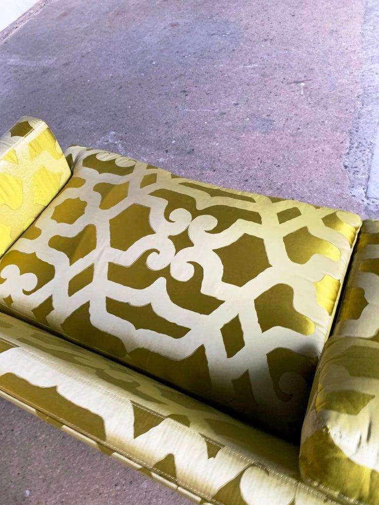 French Chartreuse Silk Quatrefoil 3-Seat Sofa Kravet Couture, Yellow Green Couch In Fair Condition For Sale In Brooklyn, NY