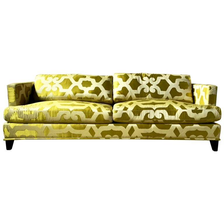 French Chartreuse Silk Quatrefoil 3-Seat Sofa Kravet Couture, Yellow Green Couch For Sale