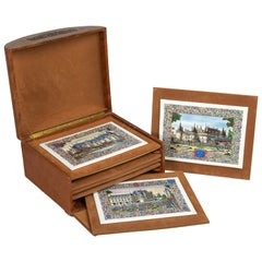French Chateaux Porcelain Plaques, Box, Set of Six
