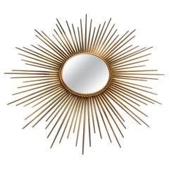 French Chaty Sunburst Mirror Gold Finished Iron Wall Mirror Mid-Century Modern