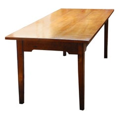 French Cherry Long Farmhouse Table, Tapered Legs, Normandy Region 19th Century