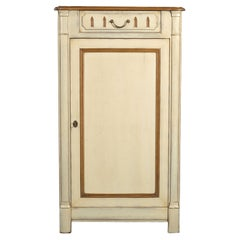 French Cherry Bonnetière, Campaign Style, 1 Drawer, 2 Shelves, Cream Lacquered