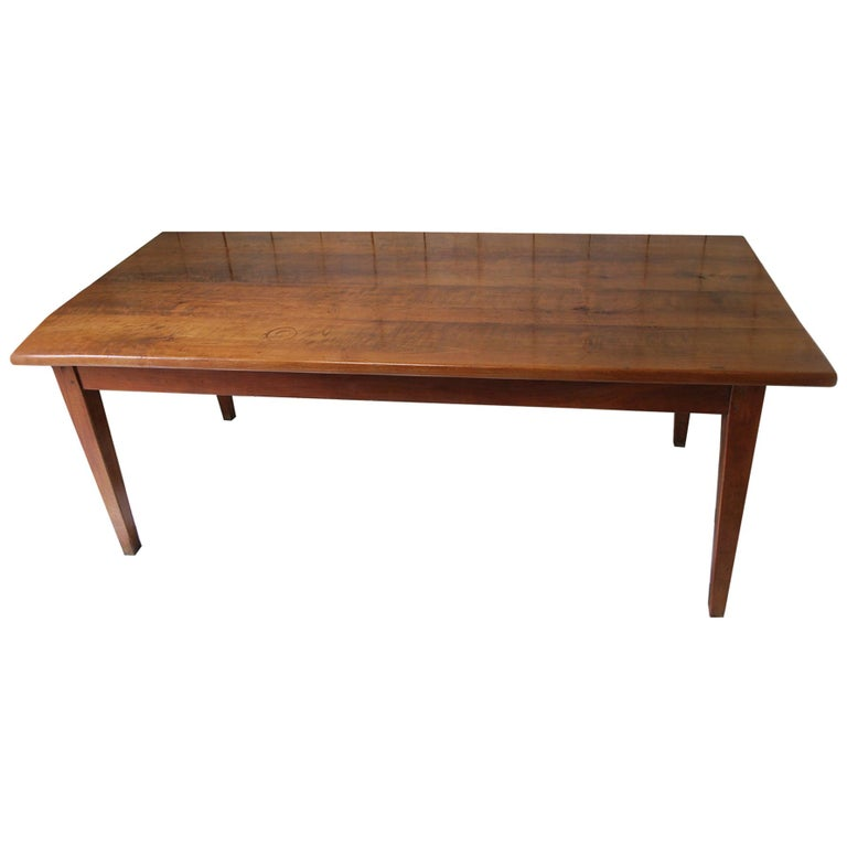 Wood Dining Table For Sale: French Cherry Wood Farmhouse Kitchen Dining Table For Sale