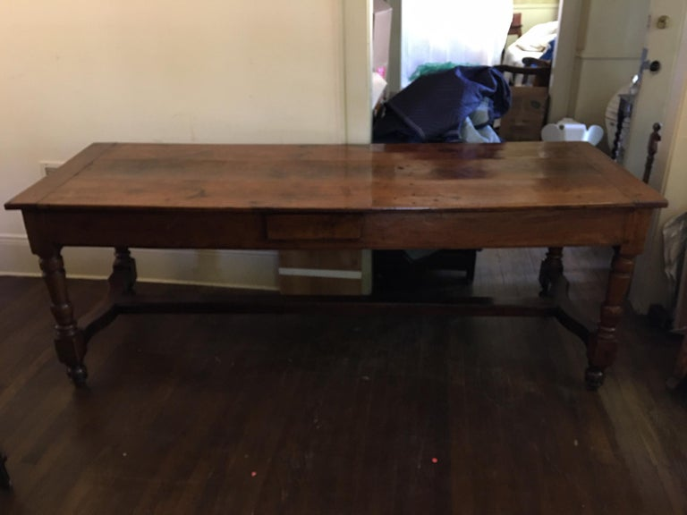 French Cherry Work Table with Drawers and Yoke Stretchers, circa 1830 In Good Condition For Sale In Savannah, GA