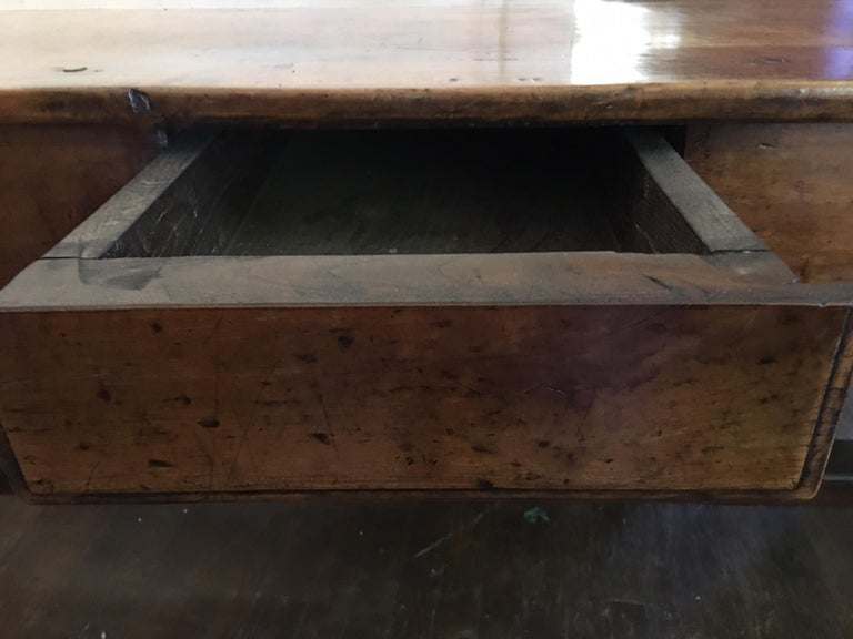 19th Century French Cherry Work Table with Drawers and Yoke Stretchers, circa 1830 For Sale