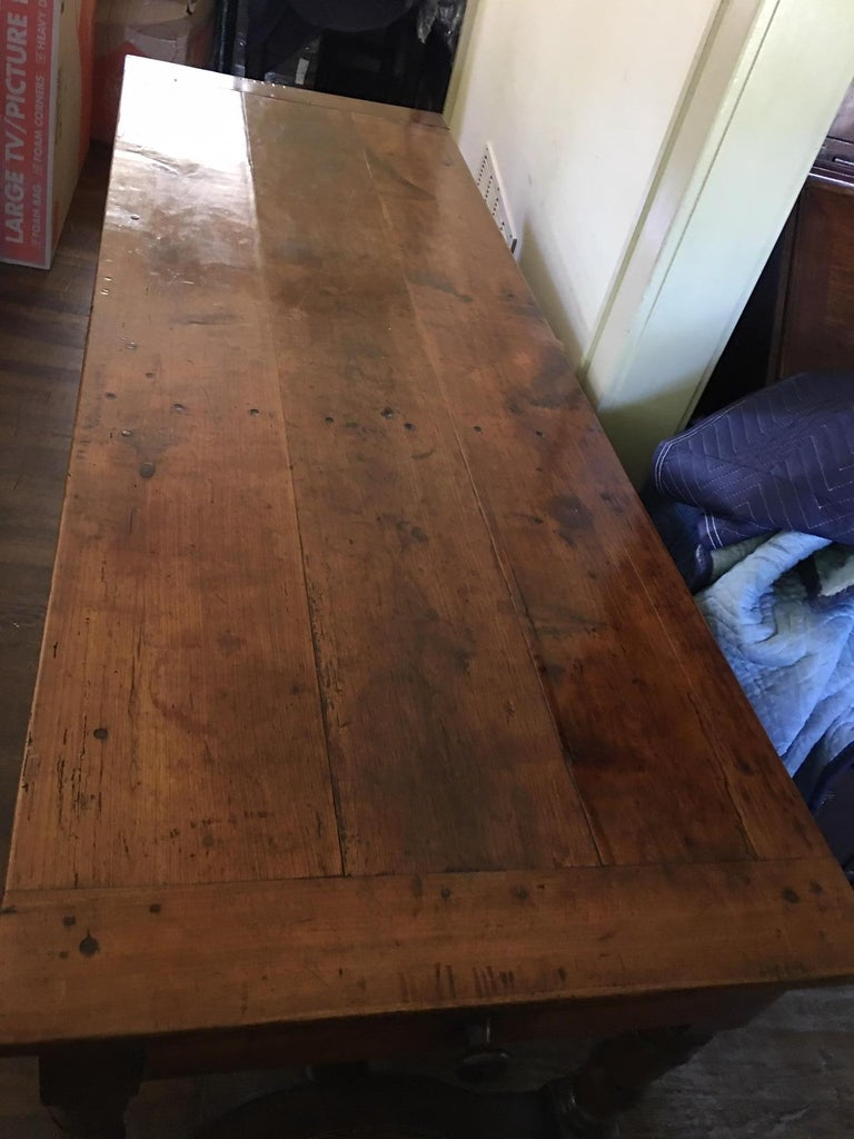 French Cherry Work Table with Drawers and Yoke Stretchers, circa 1830 For Sale 2
