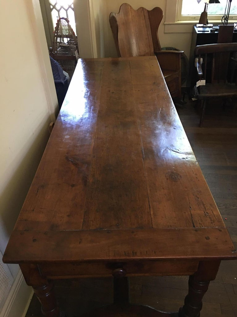 French Cherry Work Table with Drawers and Yoke Stretchers, circa 1830 For Sale 3