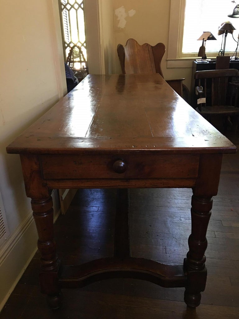 French Cherry Work Table with Drawers and Yoke Stretchers, circa 1830 For Sale 4