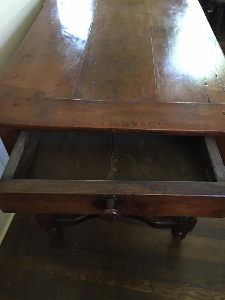 French Cherry Work Table with Drawers and Yoke Stretchers, circa 1830 For Sale 5