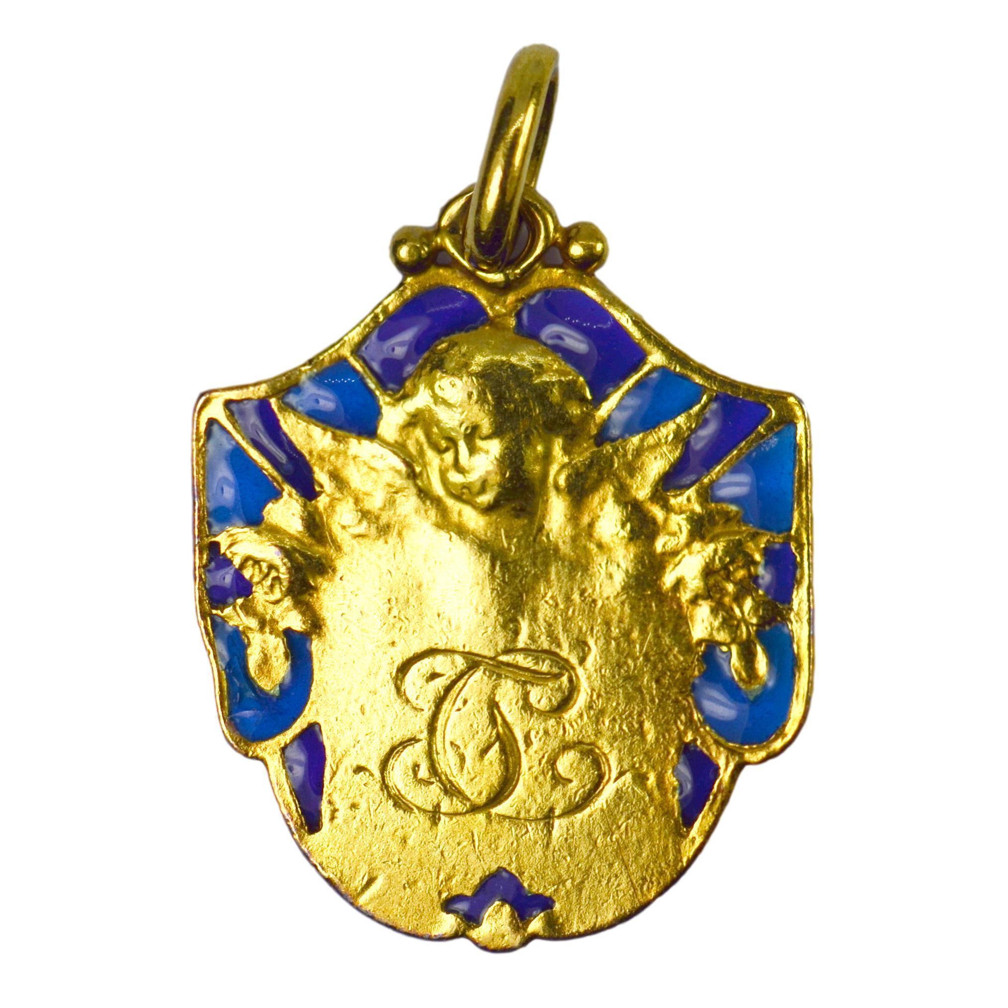French Cherub Plique-A-Jour Enamel 18k Yellow Gold Medal Pendant
