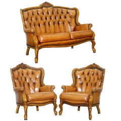 French Chesterfield Tan Brown Leather Suite Sofa Armchairs Mid-Century Modern