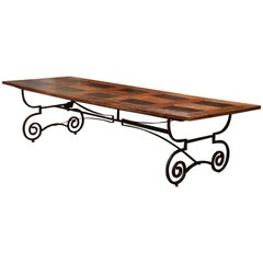 French Chestnut and Slate Dining Room Table on Forged Wrought Iron Base