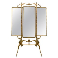 French Cheval Gilt Beveled Triple Dressing Mirror