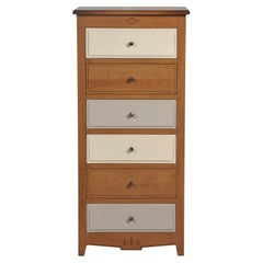 French Chiffonier, 6 Drawers, Wood Stain and Grey Colors Combination