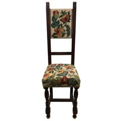 French Child Size Carved Walnut Flower Tapestry Chair