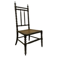 French Childs Chair Caned and Bobbin Turned Chair, Late 19th Century