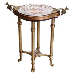 French Chinese Chippendale Style Bronze and Chinoiserie Porclain Table