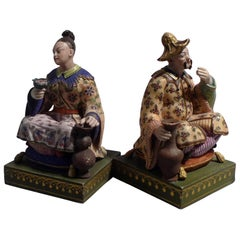 French Chinnoiserie Pair or Porcelain Seated Figures