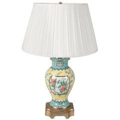 French Chinoiserie Ceramic Lamp, 20th Century