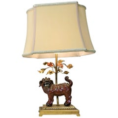 French Chinoiserie Porcelain Foo Dog Table Lamp