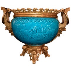 French Chinoiserie Style Earthenware Turquoise Blue Ground Planter or Jardinière