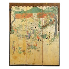 French Chinoiserie Style Three Panel Harvest Screen