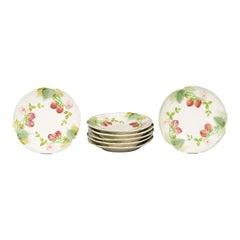 French Choisy-le-Roi 19th Century Majolica Strawberry Plates with Foliage