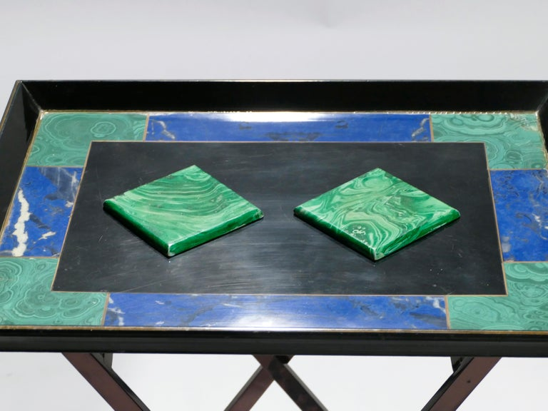 Hollywood Regency French Christian Dior Faux Malachite Folding Tray Table, 1970s