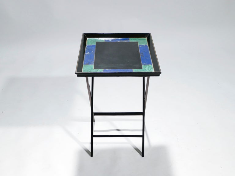 Lacquered French Christian Dior Faux Malachite Folding Tray Table, 1970s