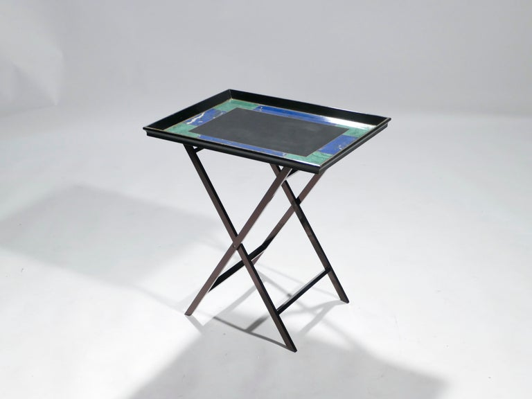French Christian Dior Faux Malachite Folding Tray Table, 1970s 1
