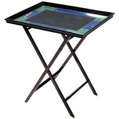 French Christian Dior Faux Malachite Folding Tray Table, 1970s