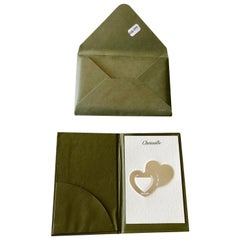 French Christofle Silver Plated Two Hearts Book Page Marker with Case, New