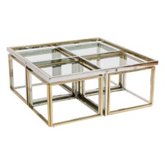 French Chrome and Brass Coffee Table by Maison Charles, circa 1978