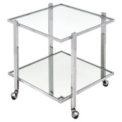 French Chrome and Glass Side Table