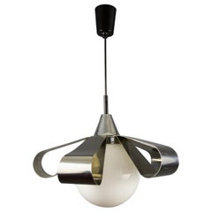 Mid-Century Modern Chrome and Opaline Glass Ceiling Lamp or Pendant, 1970s