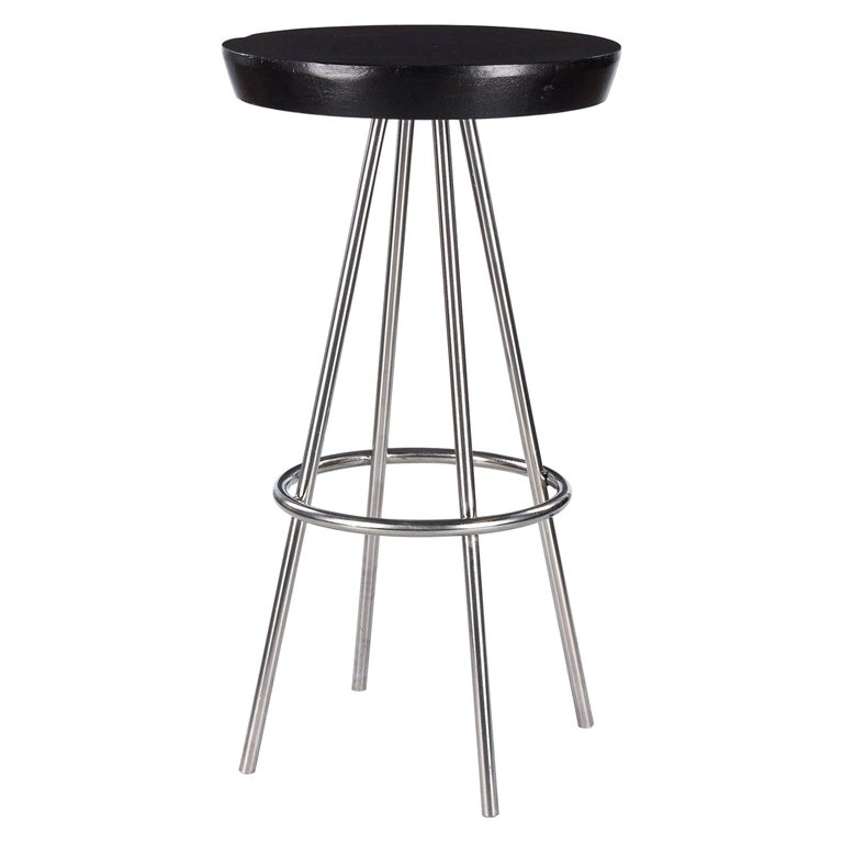 """French Chrome Base Round """"Mange Debout"""" Tall Bistro Table, 1970s For Sale"""