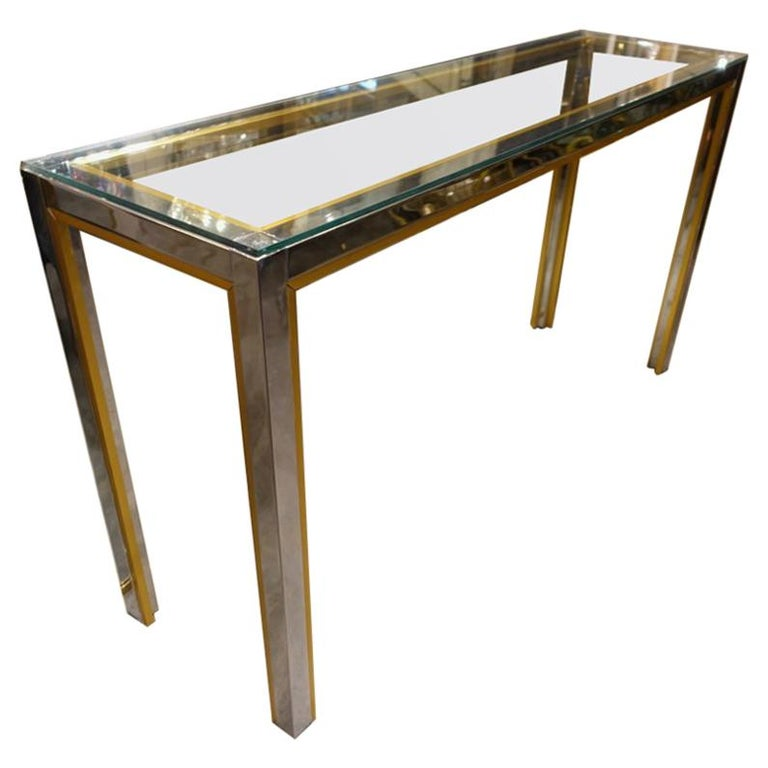 French Chrome Brass And Glass Console Table For Sale At 1stdibs