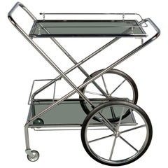 French Chrome and Smoke Glass Folding Bar Cart
