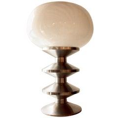French Chromed Steel Lamp, 1970s