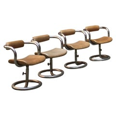 French Chromed Steel Structure and Beige Leather Seat Chairs, 1970s