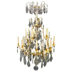 French Chrystal and Bronze Chandelier, 19th Century