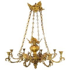 French Church Chandelier of Bronze with Beautiful Decorations, 1880s