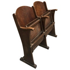 French Cinema Chairs in Wood by Thonet, 1940s